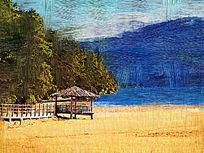 电脑油画《山野小亭》