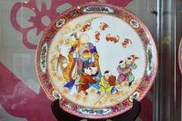 寿星童子珐琅画圆盘