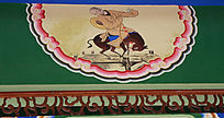 僧人逗驴人物墙绘
