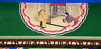 僧人客栈化缘墙绘装饰画