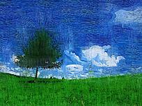 电脑油画《山野之树》