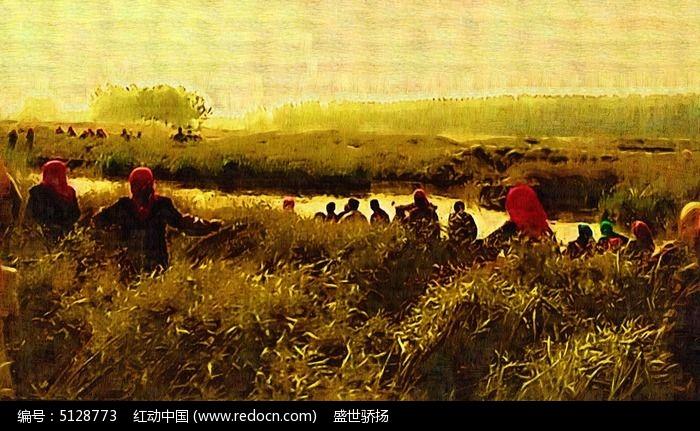 草原风景油画 田野风景油画
