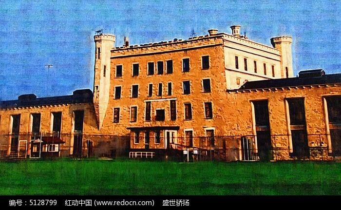 西式建筑风景油画图片