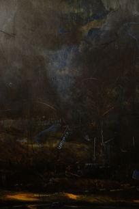 暗黑天空墙面彩绘背景素材