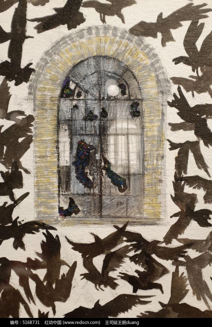 飞鸽与窗户墙面彩绘图片