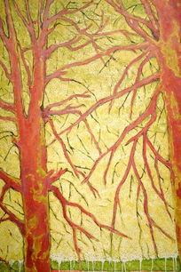 秋树墙画背景