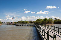 湿地栈道风车