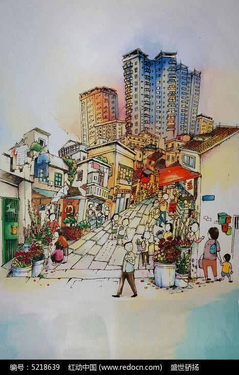 都市手绘水彩画图片