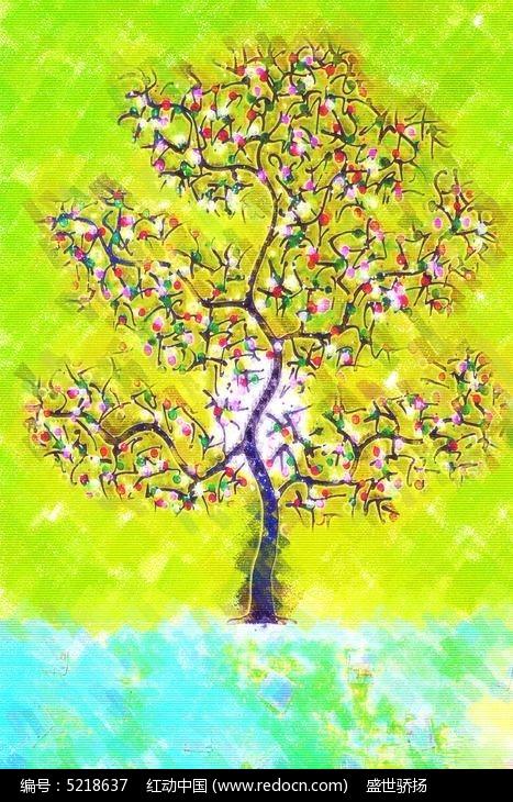 水彩树木装饰画图片,高清大图_插画绘画素材