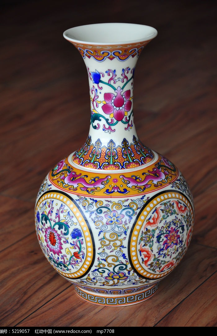 彩色花纹陶瓷花瓶图片