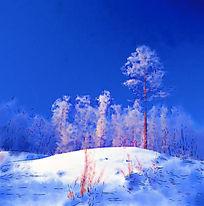 电脑水彩画《林海雪原》