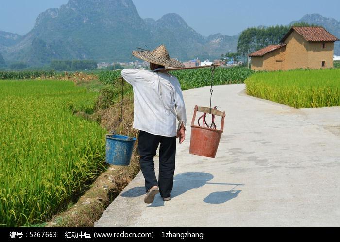 挑水桶的老人图片