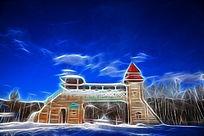 电脑抽象画《雪原门楼》