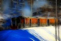 电脑画《林海雪原列车》