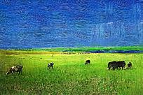 电脑油画《草原风光》