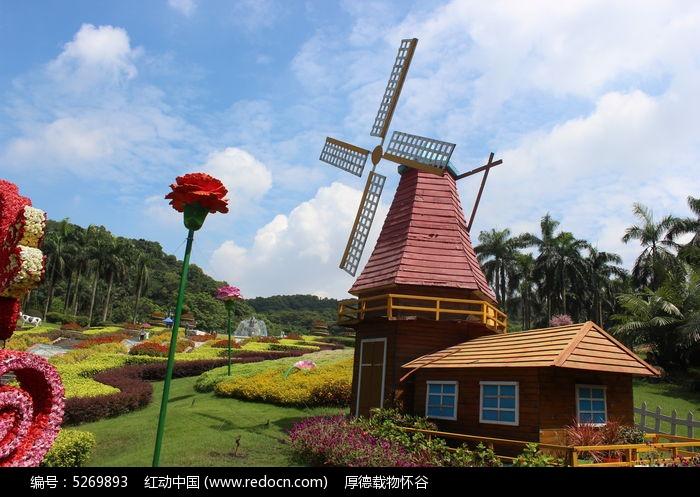 鲜花与风车房子