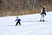 大人与儿童滑雪人