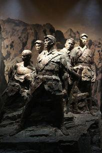 抗日战争纪念馆的狼牙山五壮士泥塑雕像