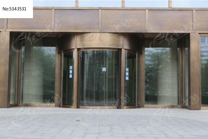 纯铜制作的宾馆大门及旋转玻璃门图片