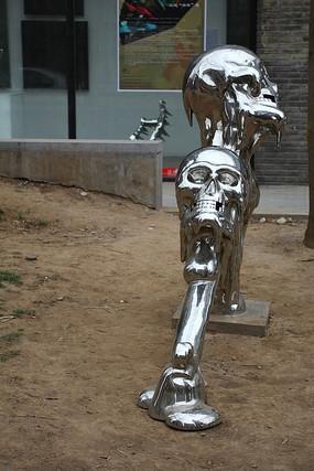 北京798创意雕塑骷颅头