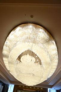 别墅空间天花水晶灯吊顶