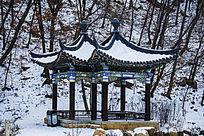 冬天的千山明潭岸边披着雪的双亭