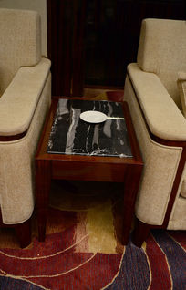 酒店会议室树根黑色高档大理石茶几
