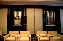 星级酒店会议室背景墙国画装饰实景图
