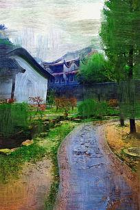 电脑油画《古典园林》