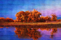 电脑油画《河畔胡杨》