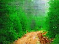 电脑油画《山野之路》