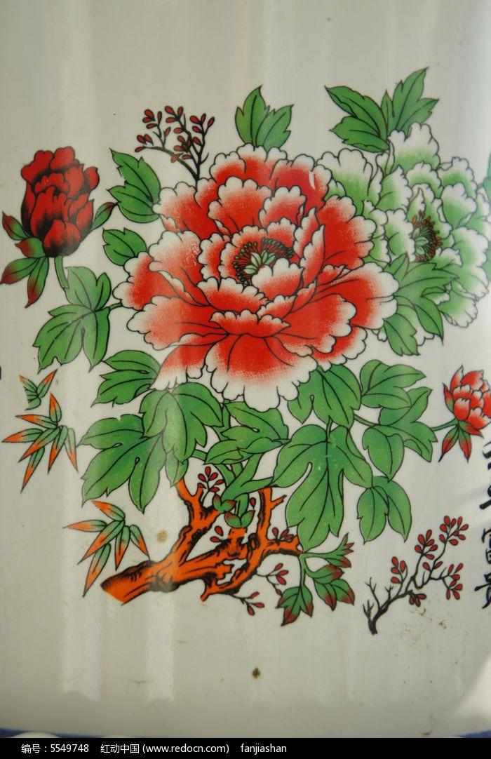 瓷盆上的牡丹画图片