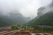 河南林州石板岩乡雨中风景