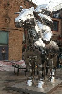 骑马吹笛的小男孩不锈钢雕塑