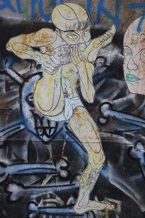 798涂鸦墙长腿毛的女人