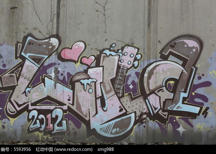 北京798爱心和字母的涂鸦墙图片图片