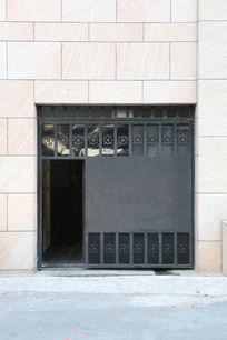 大理石背景铁艺单开大门背景素材
