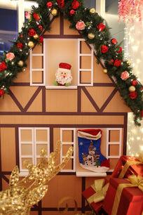 圣诞节礼物墙壁节日背景素材