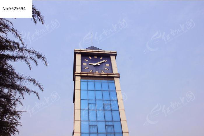 蓝色玻璃钟楼图片,高清大图_高楼大厦素材