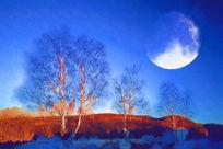 电脑抽象画《山野圆月》