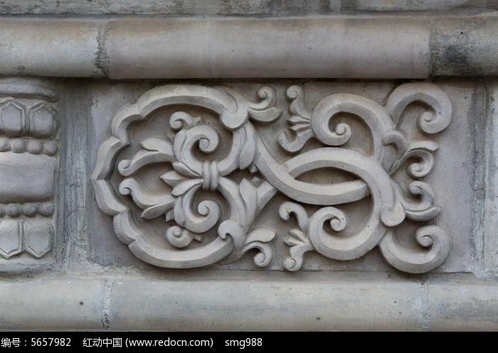 古代花纹连枝图案石雕