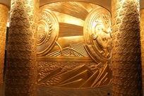 中华世纪坛金色纹理图案雕刻