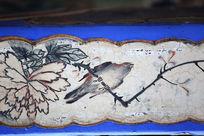 水墨花鸟攀枝线条边框
