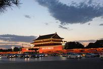 天安门夜景摄影照片