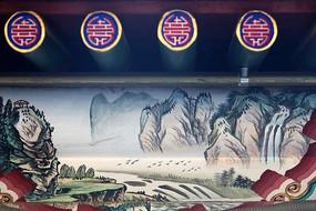 颐和园山脉飞雁图案线条边框