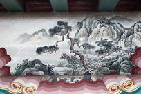 颐和园水墨松树山崖线条边框