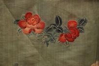 清代道光氅衣折枝花朵图案
