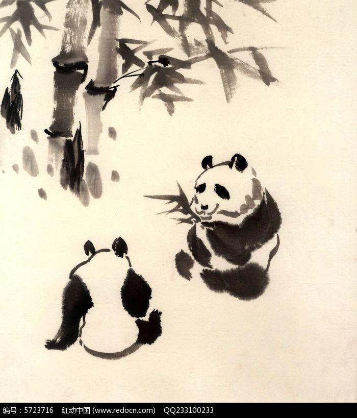 大熊猫国画图片