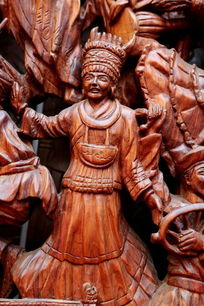 各民族团结载歌载舞红木雕刻