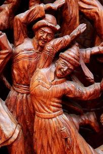 红木雕刻民族团结欢庆载歌载舞